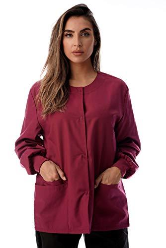 (Just Love Womens Solid Medical Scrub Jacket 4501-BUR-XL Burgundy)