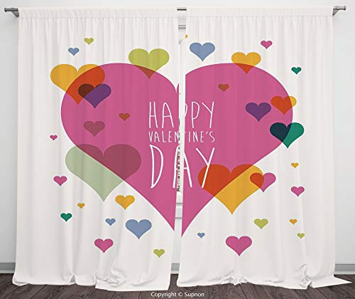 Rod Pocket Curtain Panel Polyester Translucent Curtains for Bedroom Living Room Dorm Kitchen Cafe/2 Curtain Panels/55 x 45 Inch/Valentines Day Decor,Happy Valentine Day Quote Love Romance Theme Abstra