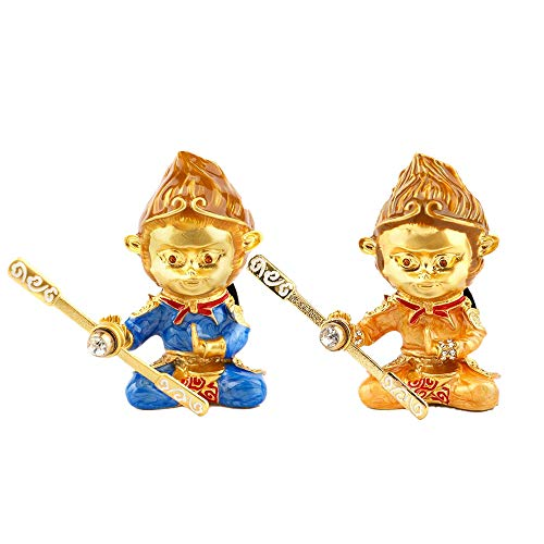 Cococart Monkey King Car Perfume Vent Clip Air Freshener Diffuser Zinc Alloy Great Hero Sun Wukong Automobiles Smell Decorative (Gold+Blue)