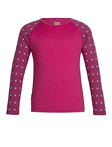 Icebreaker Merino Kids Oasis Long Sleeve Crewe Align Print, Snow/Pop Pink, Size 8