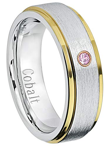 - Jewelry Avalanche 6MM Comfort Fit Brushed 2-Tone Yellow Gold Edge Women's Cobalt Chrome Wedding Band - 0.07ct Pink Tourmaline Cobalt Ring - October Birthstone Ring -11