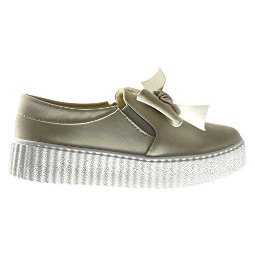 Angkorly - Zapatillas de Moda Deportivos zapatillas de plataforma slip-on mujer pajarita Talón Plataforma 3.5 CM - Caqui