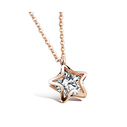 Gorgeous Jewelry Double Star with Filling Cubic Zirconia Pendant Rose Gold Plated ()