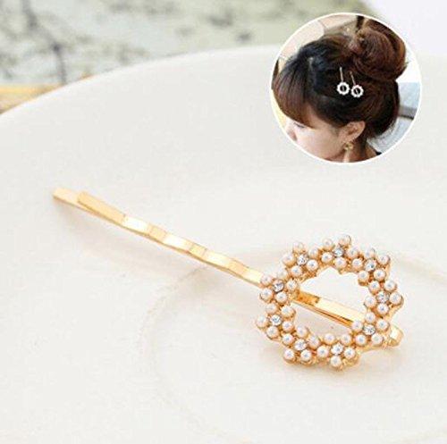 1 Pcs Flower - Vogue Women Heart Gold Hairpin Pearl Flower Barrette Rhinestone Hair Clip Pin