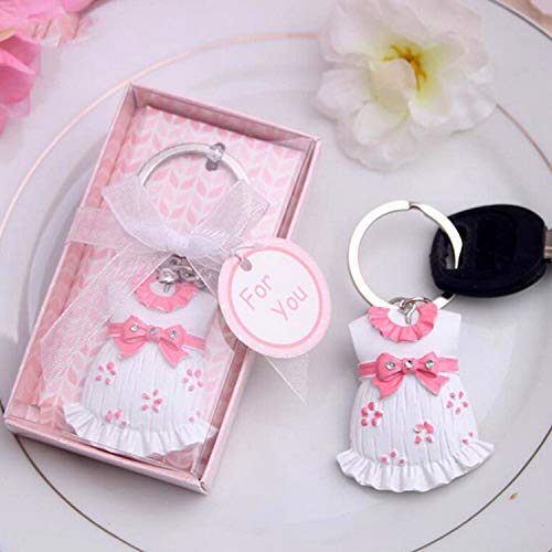 OUOK 10pcs Baby Shower Favors Blue Clothes Design Keychain Baby Baptism Gift for Guest Birthday Party Souvenir,Pink