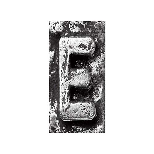 Decorative Privacy Window Film/Aluminum Colored Decayed Uppercase E Alphabet Character Nostalgic Medieval Initials Decorative/No-Glue Self Static Cling for Home Bedroom Bathroom Kitchen Office Decor G