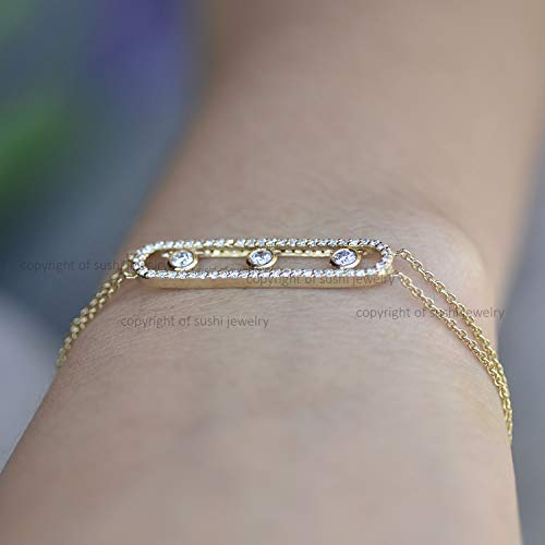 - 14k Solid Yellow Gold Genuine Pave SI Clarity G Color Diamond Adjustable Bracelet Handmade Minimalist Wedding Jewelry Gift