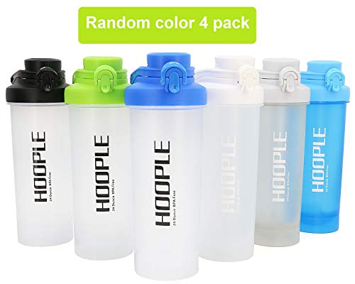 HOOPLE Shaker Bottle Protein Powder Shake Blender Gym Smoothie Cup, BPA Free, Auto-Flip Leak-Proof Lid, Handle with Ball… |