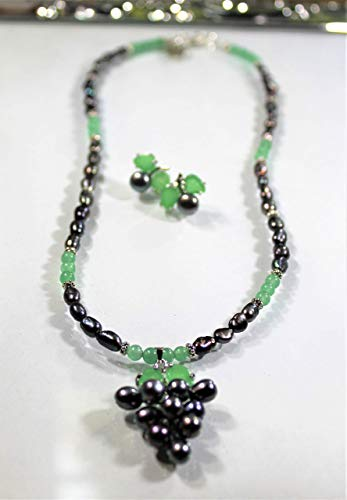 Black pearls two piece set, black pearl and green aventurine necklace and earrings