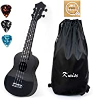 Kmise Soprano Ukulele 21 inch Instrument Gift for kids with Carry Bag Tuner String