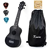 Kmise Soprano Ukulele 21 inch Instrument Gift for kids with Carry Bag Tuner String (Black)