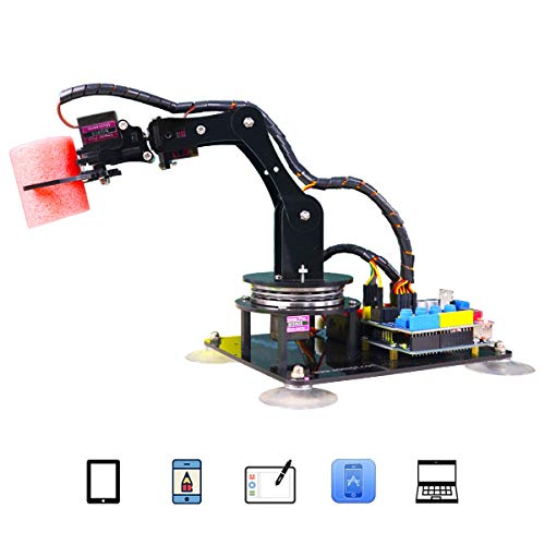 Adeept 5-DOF Robotic Arm Kit Compatible with Arduino IDE | DIY Robot Kit | STEAM Robot Arm Kit with OLED Display | Processing Code and PDF Tutorial via Download Link