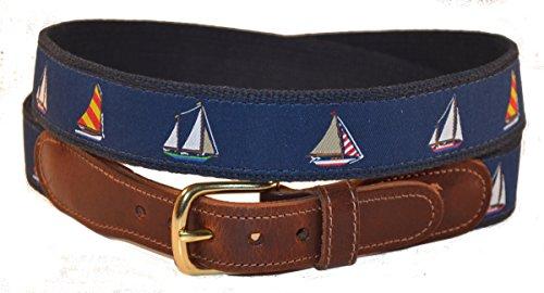 Preston Leather Nautical Sailboats Belt Blue 34 - Web Leather