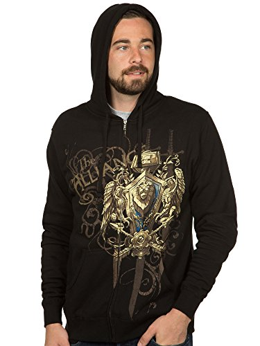 JINX World of Warcraft Men's Alliance Crest (Version 2) Zip-up Hoodie (Black, Small)