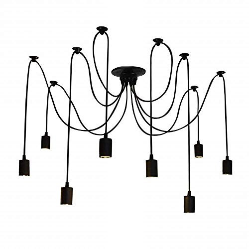 Velouer Spider Pendant Light Fixure with 8 Arms E26/E27 Lamp Holder Ajustable DIY Vintage Classic Ceiling Retro Chandelier Dining Hall Bedroom Hotel,8Pcs Wire Each - Ceiling Pendant Fluorescent Lamp