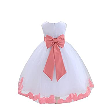 Wedding Pageant Flower Petals Girl White Dress with Bow Tie Sash 302a 8