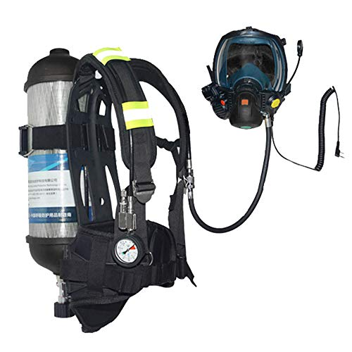 (Self Contained Breathing Apparatus in Full Facepiece with walkie talkie handset connector,30 Min Lightweight Paintball Cylinder (Empty Bottle),Harness Vest and Valve Gauge Industrial SCBA (1/EA) )