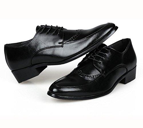 WZG los zapatos de los hombres de negocios de alta calidad, zapatos de cuero de los hombres de los hombres señalaron los zapatos de los hombres tallados Bullock Black
