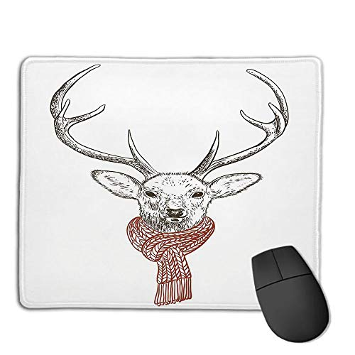 Premium-Textured Mouse Mat,Non-Slip Rubber Mousepad Waterproof,Antlers Decor,Illustration of a Deer Wearing Scarf Knitted Neck Wintertime Cold December Seasonal Decorative,Applies to Games,Home, SCH