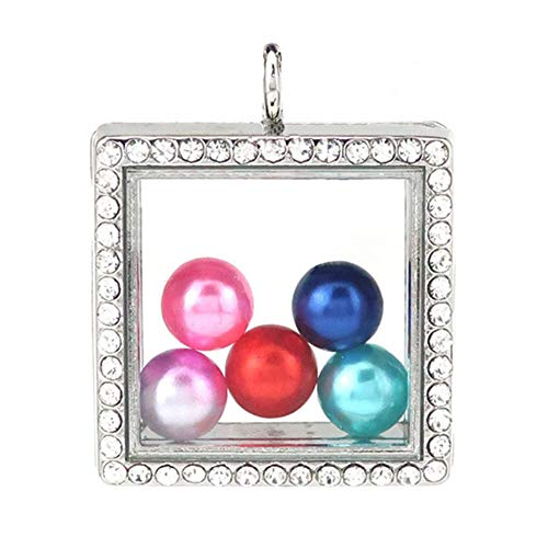 (HENGSHENG 5 PCS Square Crystal Pearl Cage Toughened Glass Floating Locket Pendants as Jewelry Making Kits (DO NOT Include Pearls and Chains))