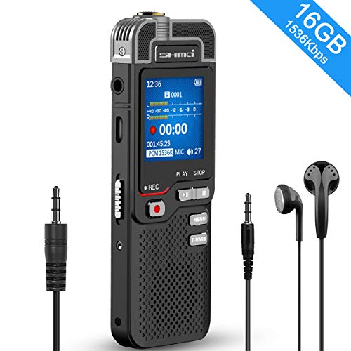 16GB Digital Voice Recorder, 1536kbps Voice Activated Recorder with Playback, Line in/External Microphone, Noise Reduction HD-Audio Recorder, Rechargeable Portable Voice Recorder for Lecture, Meeting