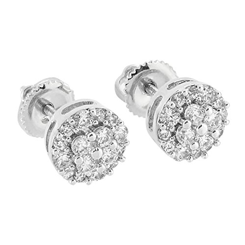 Round Prong Set Earrings Cluster Lab Diamonds 14K White Gold Finish Screw Back Iced Out (14k White Gold Lab)