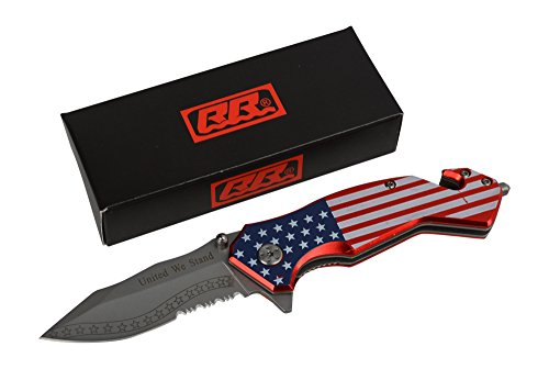 Rogue-River-Tactical-USA-Flag-Pocket-Knife-red-White-Blue-American-Patriot-Spring-Assisted-Folding-United-We-Stand