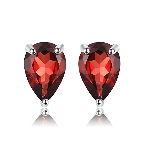 JewelryPalace Pear 1.8ct Natural Red Garnet Birthstone Stud Earrings 925 Sterling (Garnet Pear Earrings)