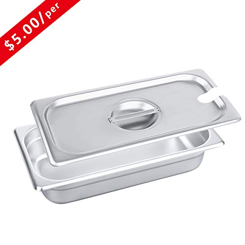 - 1/3 Size Stainless Steel Slotted Steam Table Pan Cover, Kitma Pan Lids, Non-Stick Surface, Lid for 1/3 Size Steam Pans with Handle - 12 Pack