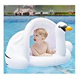 Baby Pool Float with Canopy Infant Swimming Float White Swan Inflatable Ride-ons Pool Toys Swim Ring with Safety Seat Sunshade for Kids Toddlers 6-48 Months Summer Outdoor Beach Pool Water Bath Toys