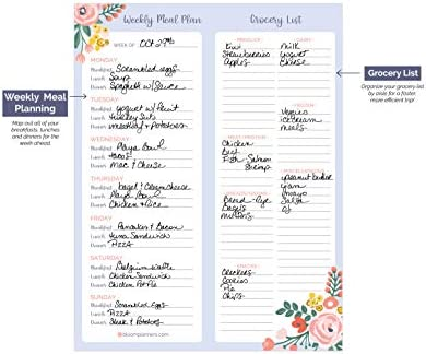 """bloom daily planners Weekly Magnetic Meal Planning Pad for Fridge with Tear-Off Grocery Shopping List - Hanging Food/Menu Organizer Notepad with Magnets - 8.5"""" x 11"""" 9"""