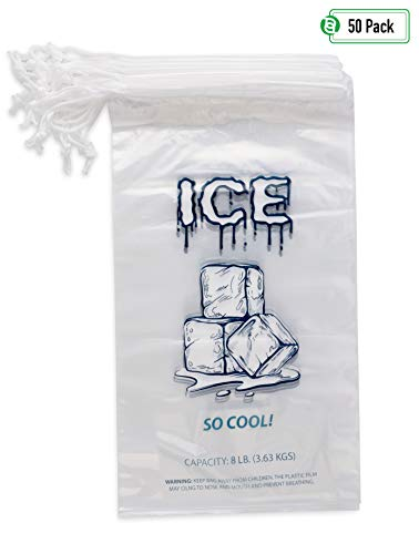 (Party Bargains Plastic Ice Bags with Drawstring | 8 Lb. Durable & Heavy-Duty Ice-Bag Storage | 11 x 19 Inch | 50 Count)