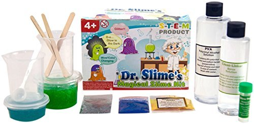 (Dr. Slime's Magical Slime Kit - The Ultimate DIY Slime Making Kit - Slime Supplies to Make Glow in the Dark, Clear, Glitter and Color Changing Slime - Slime Containers)
