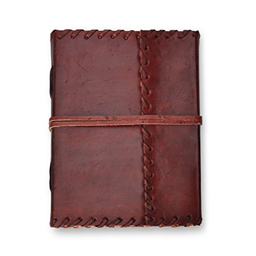 Handmade Leather Journal – 7 x 5 Unlined Diary, Travel Notebook And Sketchbook With 200 Pages – By Noteworthy