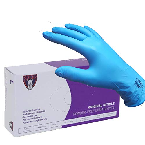 Price comparison product image Rhinos Nitrile Exam Gloves - Medical Grade,  Powder Free,  Latex Rubber Free,  Disposable,  Non Sterile,  Food Safe,  Textured,  Indigo Color,  Convenient Dispenser (Small,  Case of 1000)