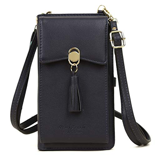 - Women Rfid Blocking Credit Card Wallet Purse Cell Phone Crossbody Small Bag (Royal Blue)