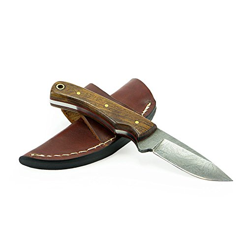 "Knives Ranch Damascus Steel 6.5"" Fixed Blade Knife with Indian Rosewood Handle and Leather Sheath"