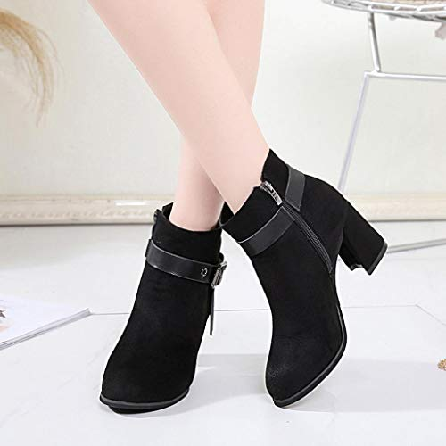 Fashion Classic Ankle Autumn Boots Bottom Thick Retro Black Head Women Boots FALAIDUO Boots Martin Round P57qnT