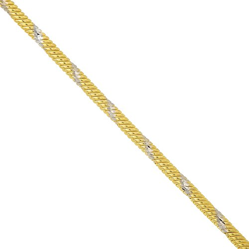 """14k Solid 2 Tone Gold 1 mm Swirl Snake Chain Necklace 18"""" Lobster Claw Clasp"""
