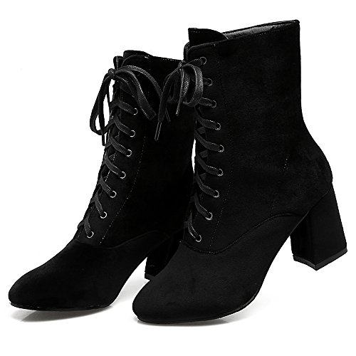 Women High Autumn Heel COOLCEPT Size Block Black Boots Plus Top Fashion HxdwqO