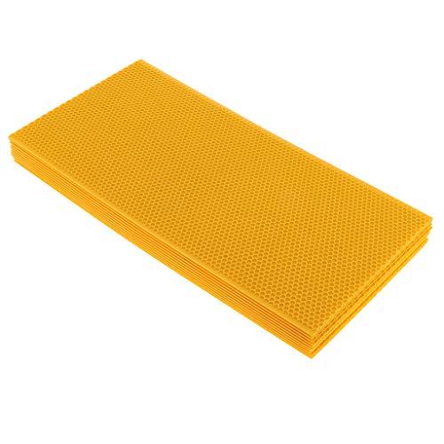 Flameer 10pcs Honeycomb Bee Wax Foundation Beehive Wax Frames Base Sheets ()