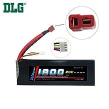 DLG 11.1V 1800mAh 3S 20C Burst 40C LiPO Li-Po High-Discharge Rate Powerful Battery with Dean's T Plug