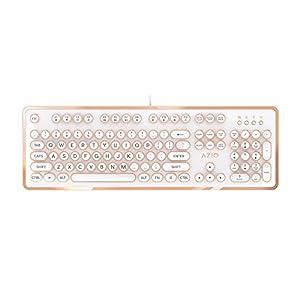 AZIO Vintage Inspired Mechanical Keyboard MK-RETRO-02 (White / Gold)