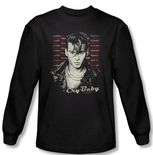 Ae Mens Sweater (Cry Baby T-shirt Movie Drapes & Squares Black Long Sleeve Tee Shirt,)