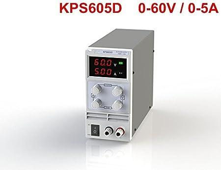 230V 50 Baugger Wanptek Nps605W 0-60V 0-5A Fuente de Alimentaci/ón de Cc de Conmutaci/ón 3 D/ígitos Pantalla Led Alta Precisi/ón Mini Fuente de Alimentaci/ón Ajustable Ca 115V 60Hz Voltaje y Corriente