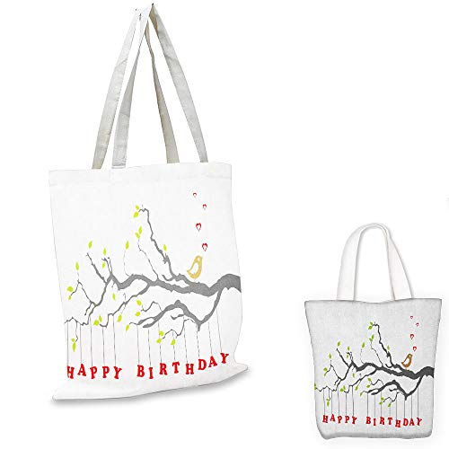 shopping tote Birthday Letters Hanging from Branch with Leaves Cute Bird Hearts Art Print Charcoal Grey Green Red travel shopping bag (Partridge Shopping Bag Family)