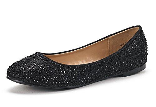 DREAM PAIRS Women's Sole-Shine Black Rhinestone Ballet Flats Shoes - 9.5 M US