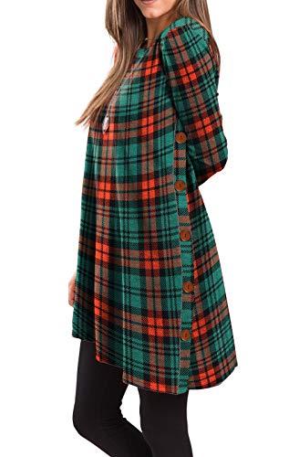 iGENJUN Women's Long Sleeve Scoop Neck Button Side Christmas Tunic Dress,M,MX-15 -