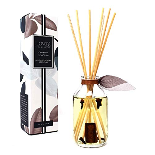 (LOVSPA Cinnamon & Clove Buds Scented Sticks Reed Diffuser Set | Sweet Cinnamon, Warm Clove, Spicy Tonka Bean & Woody Notes | Great Fall-Autumn)