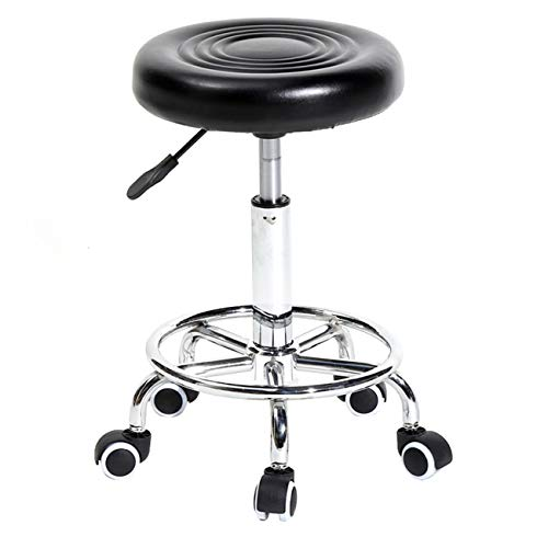 LeiAn Bar Stool Rolling Swivel Salon Stool Chair Round Stool for Massage Spa Medical Tattoo Facial PU Leather Stool with Wheels Black Kitchen Counter Stools Dining Chairs (Black)